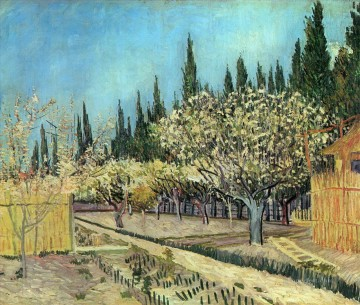 Orchard in Blossom Bordered by Cypresses 2 Vincent van Gogh Oil Paintings