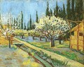 Orchard in Blossom Bordered by Cypresses Vincent van Gogh