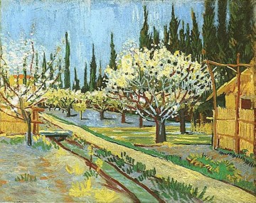 Orchard in Blossom Bordered by Cypresses Vincent van Gogh Oil Paintings