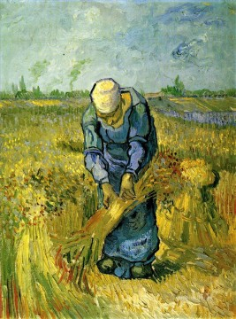 Vincent Van Gogh Painting - Peasant Woman Binding Sheaves after Millet Vincent van Gogh