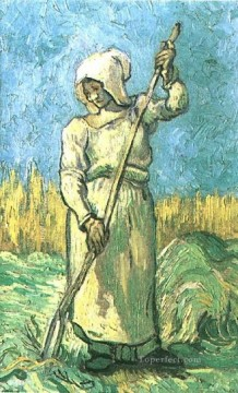 Peasant Woman with a Rake after Millet Vincent van Gogh Oil Paintings