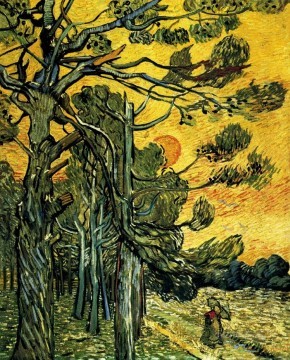 Pine Trees against a Red Sky with Setting Sun Vincent van Gogh Oil Paintings