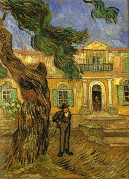 Pine Trees with Figure in the Garden of Saint Paul Hospital Vincent van Gogh Oil Paintings