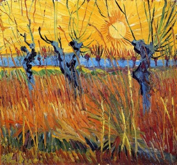 Pollard Willows and Setting Sun Vincent van Gogh Oil Paintings