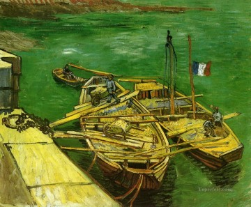Quay with Men Unloading Sand Barges Vincent van Gogh Oil Paintings