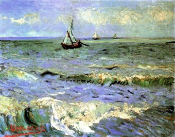 Sainte Painting - Seascape at Saintes Maries Vincent van Gogh