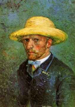 Self Portrait with Straw Hat 2 Vincent van Gogh Oil Paintings