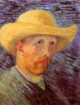 hat Oil Painting - Self Portrait with Straw Hat 3 Vincent van Gogh
