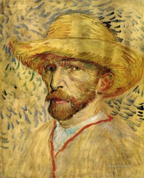 hat Oil Painting - Self Portrait with Straw Hat Vincent van Gogh