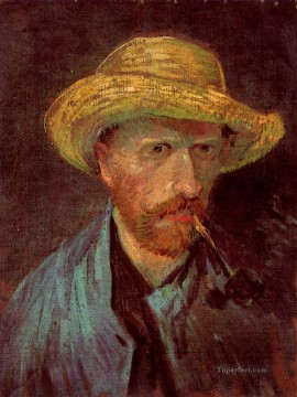 Vincent Van Gogh Painting - Self Portrait with Straw Hat and Pipe Vincent van Gogh