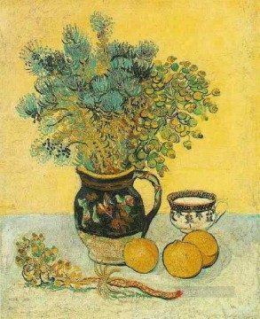 Vincent Van Gogh Painting - Still Life Majolica Jug with Wildflowers Vincent van Gogh