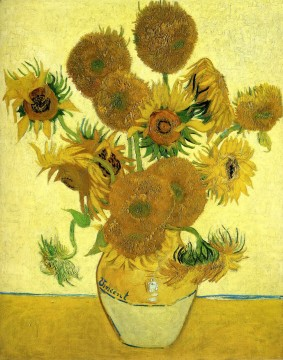 sunflower sunflowers Painting - Still Life Vase with Fifteen Sunflowers Vincent van Gogh