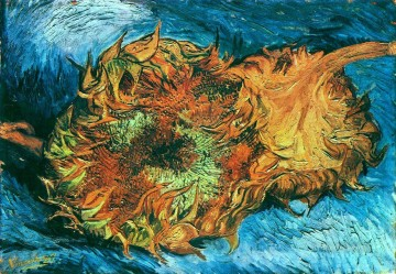 Vincent Van Gogh Painting - Still Life with Two Sunflowers Vincent van Gogh