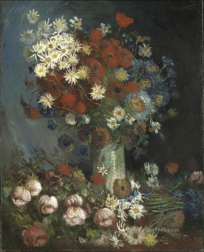 Still life with meadow flowers and roses Vincent van Gogh Oil Paintings