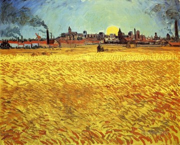Summer Art - Summer Evening Wheatfield with Setting sun Vincent van Gogh
