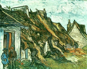 hat Oil Painting - Thatched Cottages in Chaponval Auvers sur Oise Vincent van Gogh