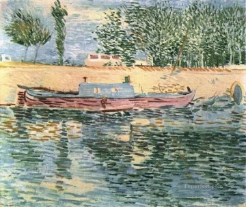 monet banks of the seine Painting - The Banks of the Seine with Boats Vincent van Gogh