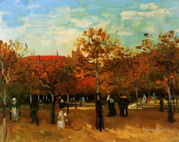 Gogh Canvas - The Bois de Boulogne with People Walking Vincent van Gogh