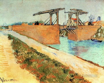 Lang Art - The Langlois Bridge at Arles with Road Alongside the Canal Vincent van Gogh