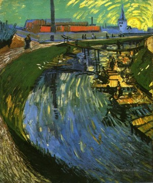 Vincent Van Gogh Painting - The Roubine du Roi Canal with Washerwomen Vincent van Gogh