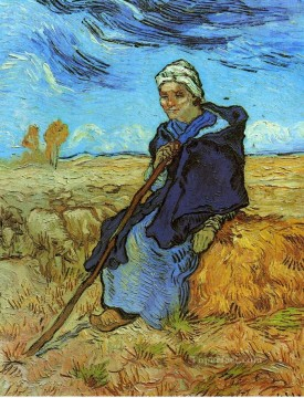 Vincent Van Gogh Painting - The Shepherdess after Millet Vincent van Gogh