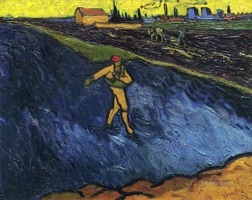 Vincent Van Gogh Painting - The Sower Outskirts of Arles in the Background Vincent van Gogh