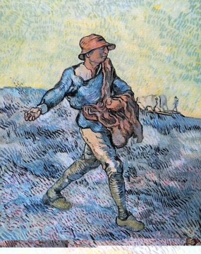 Vincent Van Gogh Painting - The Sower after Millet Vincent van Gogh