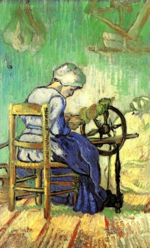 Vincent Van Gogh Painting - The Spinner after Millet Vincent van Gogh