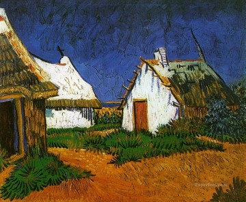 Vincent Van Gogh Painting - Three White Cottages in Saintes Maries Vincent van Gogh