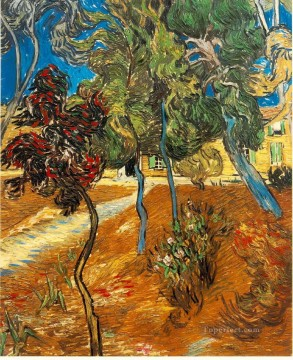 Vincent Van Gogh Painting - Trees in the Asylum Garden Vincent van Gogh