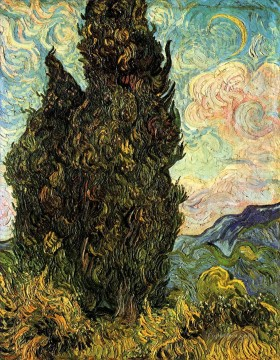 Vincent Van Gogh Painting - Two Cypresses Vincent van Gogh