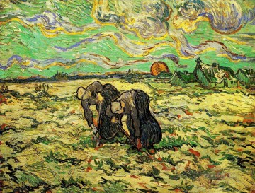 Vincent Van Gogh Painting - Two Peasant Women Digging in Field with Snow Vincent van Gogh