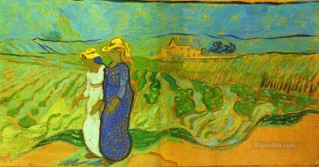 Vincent Van Gogh Painting - Two Women Crossing the Fields Vincent van Gogh