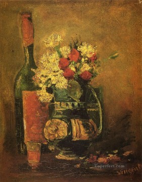 Carnations Art - Vase with Carnations and Bottle Vincent van Gogh