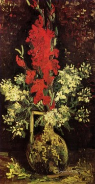 Carnations Art - Vase with Gladioli and Carnations 2 Vincent van Gogh