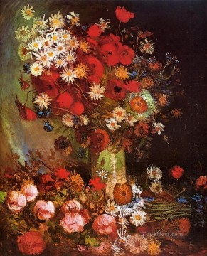 POP Oil Painting - Vase with Poppies Cornflowers Peonies and Chrysanthemums Vincent van Gogh
