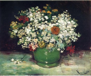 Vase with Zinnias and Other Flowers Vincent van Gogh Oil Paintings