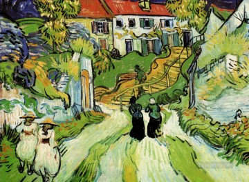 Village Street and Steps in Auvers with Figures Vincent van Gogh Oil Paintings