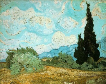 Vincent Van Gogh Painting - Wheat Field with Cypresses Vincent van Gogh