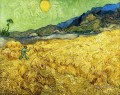 Wheat Field with Reaper and Sun Vincent van Gogh