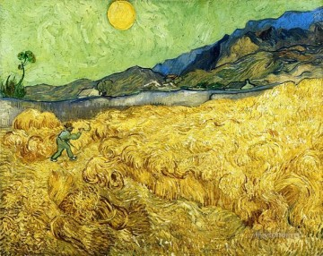 Vincent Van Gogh Painting - Wheat Field with Reaper and Sun Vincent van Gogh
