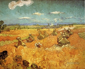 Vincent Van Gogh Painting - Wheat Stacks with Reaper Vincent van Gogh