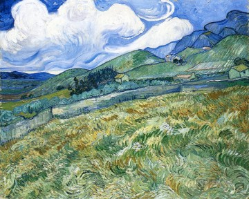 Wheatfield with Mountains in the Background Vincent van Gogh Oil Paintings