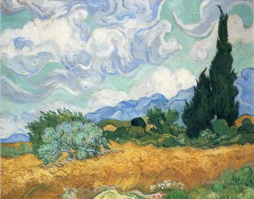 Vincent Van Gogh Painting - Wheatfield with cypress tree Vincent van Gogh