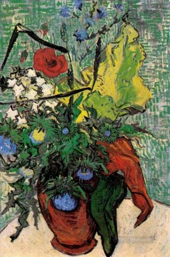 Vincent Van Gogh Painting - Wild Flowers and Thistles in a Vase Vincent van Gogh