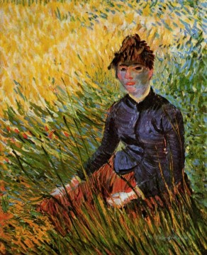 Vincent Van Gogh Painting - Woman Sitting in the Grass Vincent van Gogh