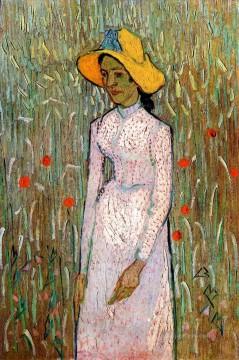 KG Art - Young Girl Standing Against a Background of Wheat Vincent van Gogh