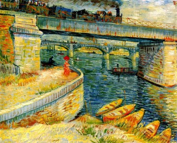 asnieres oil painting - Bridges across the Seine at Asnieres Vincent van Gogh
