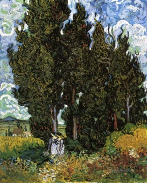 Cypresses with Two Women Vincent van Gogh Oil Paintings
