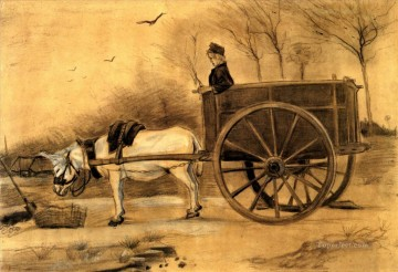 Donkey and Cart Vincent van Gogh Oil Paintings
